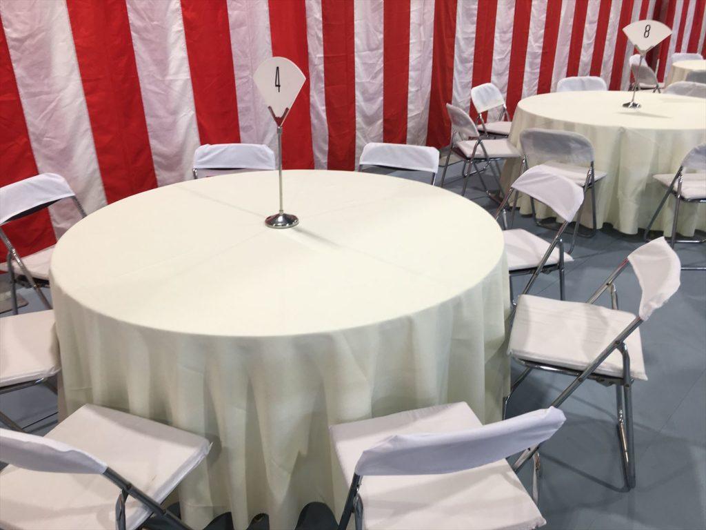 丸テーブルセットの問合せならイベント21京都支店へ!